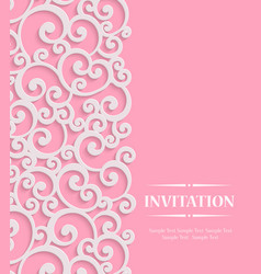 3d pink vintage invitation card with floral vector