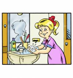 Girl wash hands vector