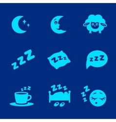 Isolated white sleep concept icons set vector