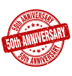 50th anniversary red grunge stamp vector