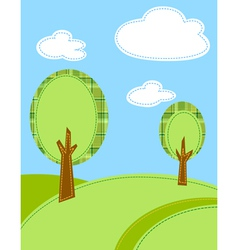 Stylized trees background vector