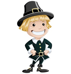 Settler boy for thanksgiving vector