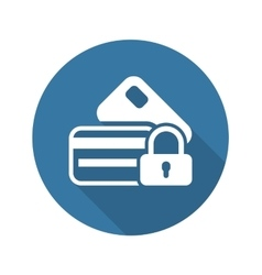 Secured credit card icon flat design vector