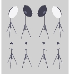 Isometric softbox photocamera and tripod vector