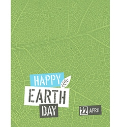 Happy earth day poster template with free space vector