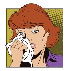 People in retro style crying girl vector