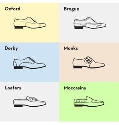 flat man shoes icons set vector image