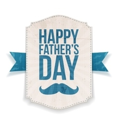 Happy fathers day textile banner with ribbon vector