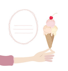 a womans hand holds an ice cream cone with cherry vector image