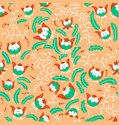 Abstract seamless floral pattern in a doodle vector