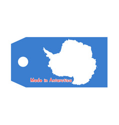 Antarctica flag on price tag with word made in vector