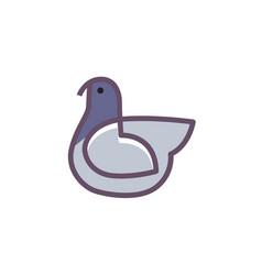 Bird logo design linear style vector