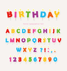 Birthday candles colorful font design cutout abc vector