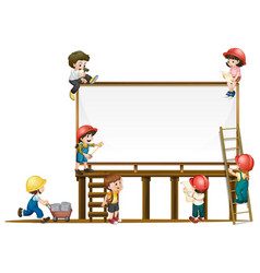 board template and children working on vector image vector image