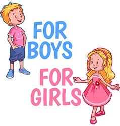 Boy and girl logo on a white background tw vector