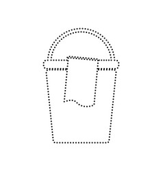Bucket and a rag sign black dotted icon vector