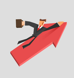 businessman flies on a growing arrow success vector image