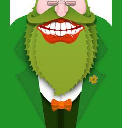 cheerful leprechaun with green beard good gnome vector image vector image