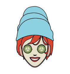 Color image cartoon face woman with towel in head vector