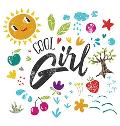 Cool girl to print t-shirts hand lettering vector