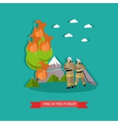 Fire in the forest in flat vector