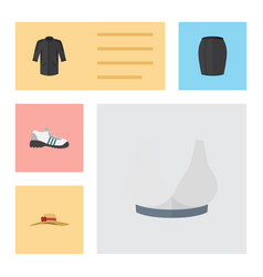 Flat icon clothes set of elegant headgear uniform vector