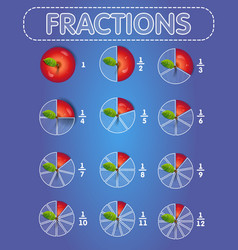 Fractions apple on top vector