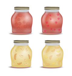 Glass jar with with jam vector