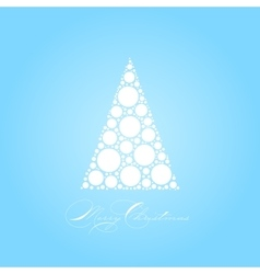 Holiday card with white Christmas tree on blue vector image