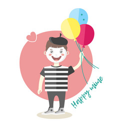 Little cheerful mime artist with balloons vector