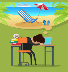 Man thinking about beach vacation vector