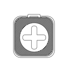 monochrome contour with kit first aid box vector image vector image