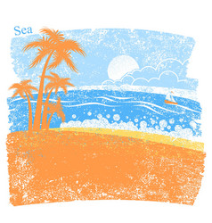 Nature tropical sea background with palm island vector