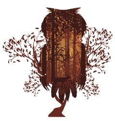 Owl and autumn forest landscape2 vector