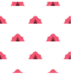 Pink tent for camping pattern flat vector