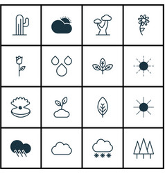 Set of 16 nature icons includes plant sunshine vector