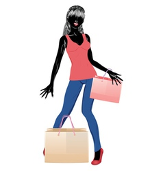 Silhouette of a shopping girl in casual wear vector image