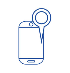 Silhouette smartphone technology with magnifying vector