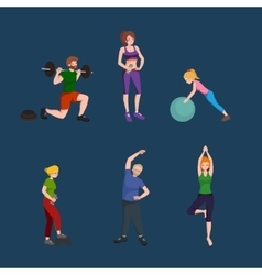Sports and fitness people healthy family vector