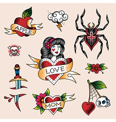 tattoo set girl vector image