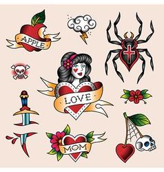 Tattoo set girl vector