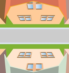 Top view of the houses on the street and the road vector
