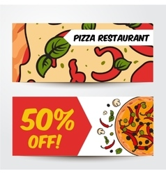 Two horizontal banners with pizza ingredients - vector image