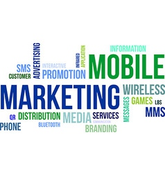 word cloud mobile marketing vector image vector image
