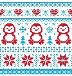 Christmas knitted pattern scandynavian sweater vector image
