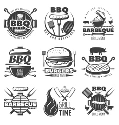 Bbq grill emblems set vector