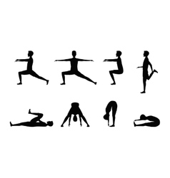 Stretching exercise set with silhouette man vector