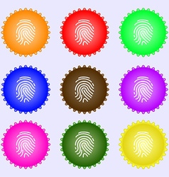 Scanned finger icon sign big set of colorful vector