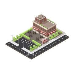 Cafe building isometric layout vector