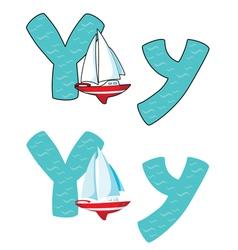 letter Y yacht vector image